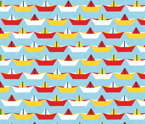 sailing_paper_boat_ciel_XL fabric by nadja_petremand on Spoonflower - custom fabric