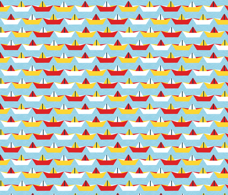 sailing_paper_boat_ciel_L fabric by nadja_petremand on Spoonflower - custom fabric