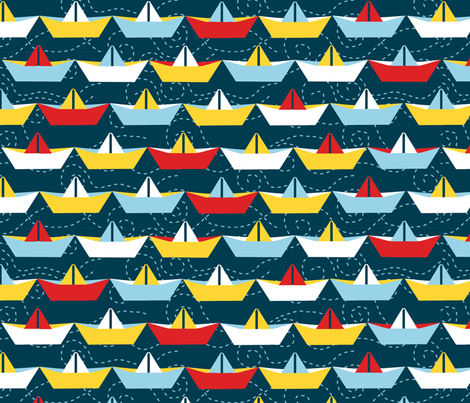 sailing_paper_boat_marine_XL fabric by nadja_petremand on Spoonflower - custom fabric