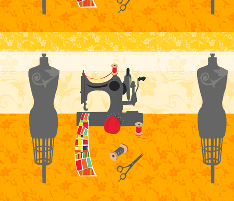 Antique Sewing Machine Quilt Mannequin fabric by rozdesigns on Spoonflower - custom fabric