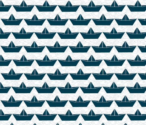 paper_boat_marine_bord_blanc_L fabric by nadja_petremand on Spoonflower - custom fabric