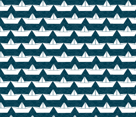 paper_boat_blanc_bord_marine_L fabric by nadja_petremand on Spoonflower - custom fabric