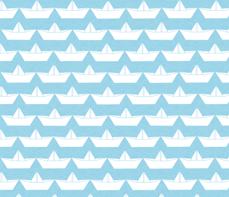 paper_boat_blanc_bord_ciel_L fabric by nadja_petremand on Spoonflower - custom fabric