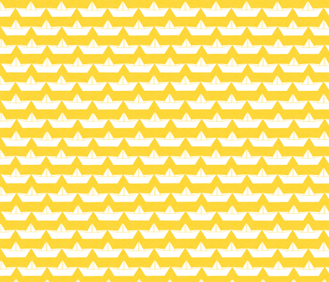 paper_boat_blanc_bord_jaune_M fabric by nadja_petremand on Spoonflower - custom fabric
