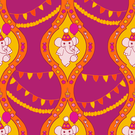 Bollywood Birthday (Plum) fabric by aimee on Spoonflower - custom fabric
