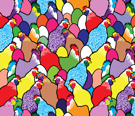 Pop feathers fabric by lilola on Spoonflower - custom fabric