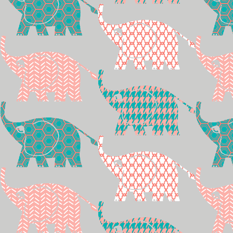 elephants on parade-3 fabric by mezzime on Spoonflower - custom fabric
