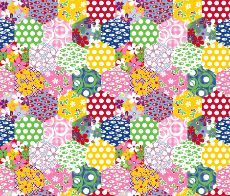 Cheater Hexies fabric by melaniesullivan on Spoonflower - custom fabric