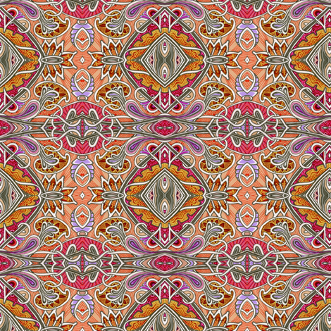 Orange Jacobean Autumn fabric by edsel2084 on Spoonflower - custom fabric