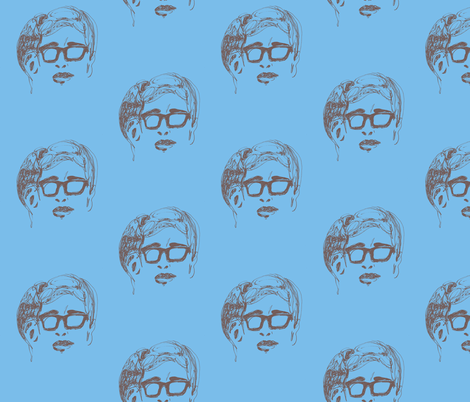 Geek Hero 1blue brown fabric by kcs on Spoonflower - custom fabric