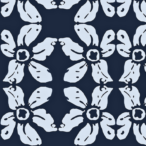 Blue lily bandana 02 fabric by dk_designs on Spoonflower - custom fabric