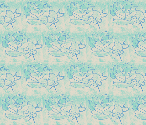 worn skull rose blue fabric by canvas_&_thread on Spoonflower - custom fabric