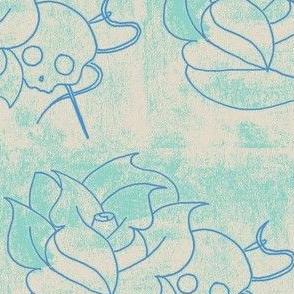 worn skull rose blue