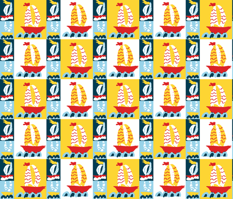 Three Boats Cheater Quilt fabric by saartje on Spoonflower - custom fabric