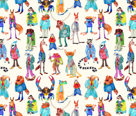 Well Dressed Menagerie fabric by jadegordon on Spoonflower - custom fabric