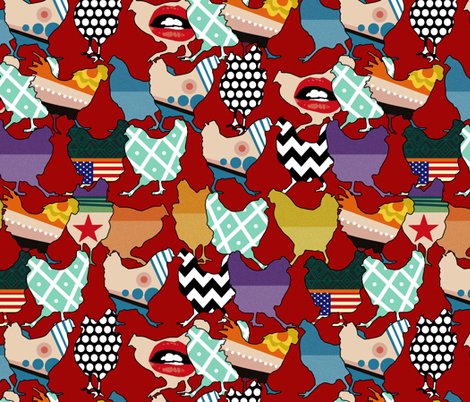 Cincinnati Chickens red fabric by scrummy on Spoonflower - custom fabric