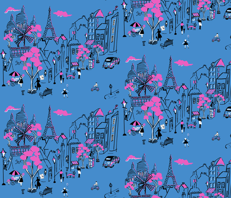Montmartre de Paris Periwinkle  fabric by hollycejeffriess on Spoonflower - custom fabric