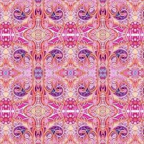 Paisley Rococo Psychedelic Patchwork in Girly Pink