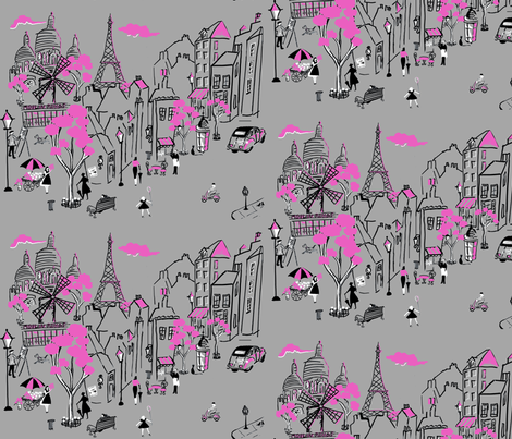 Montmartre de Paris  Grey fabric by hollycejeffriess on Spoonflower - custom fabric