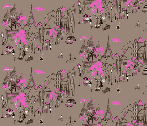 Montmarte de Paris  Taupe fabric by hollycejeffriess on Spoonflower - custom fabric