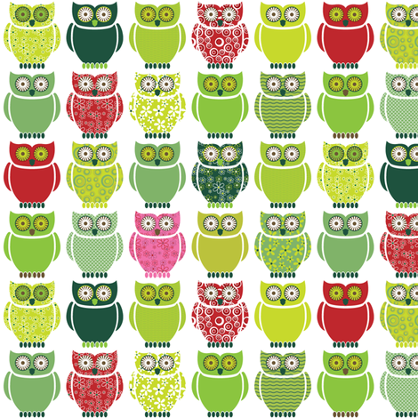 Owls - forest colours fabric by ebygomm on Spoonflower - custom fabric