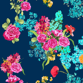 bouquet navy large on Spoonflower by Katrina