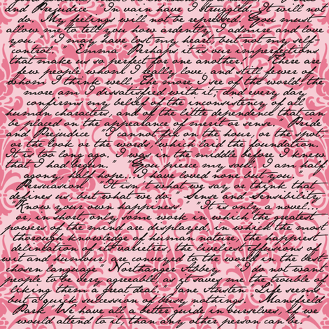 Pink Dawn ~ Jane Austen Damask fabric by peacoquettedesigns on Spoonflower - custom fabric