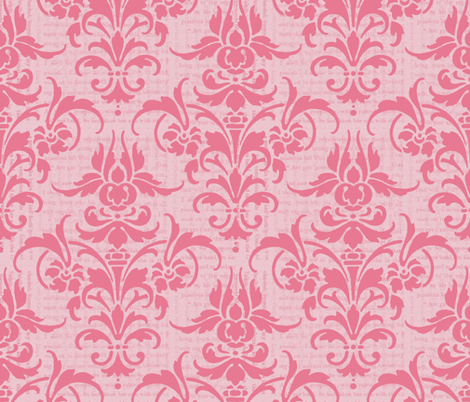 Pink Dawn Over Wuthering Heights Damask fabric by peacoquettedesigns on Spoonflower - custom fabric