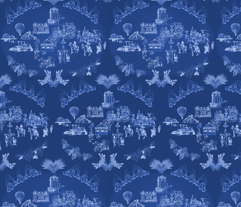 walla walla toile deep blue fabric by atomic_bloom on Spoonflower - custom fabric