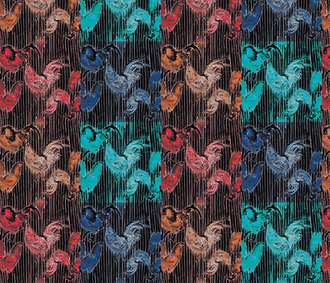 PopChickenRoosters fabric by waiomaotiki on Spoonflower - custom fabric