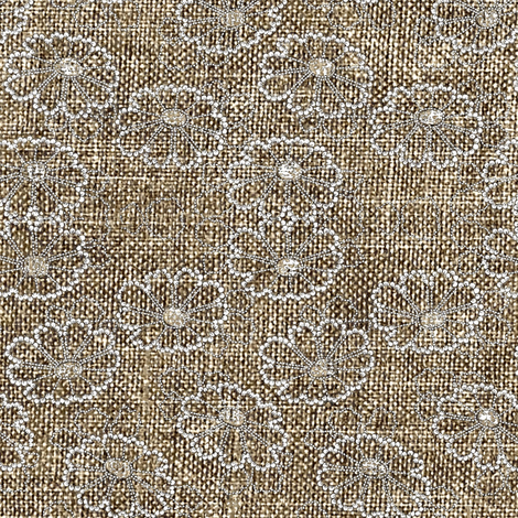 Beaded Daisies - natural brown, off white, charcoal fabric by materialsgirl on Spoonflower - custom fabric