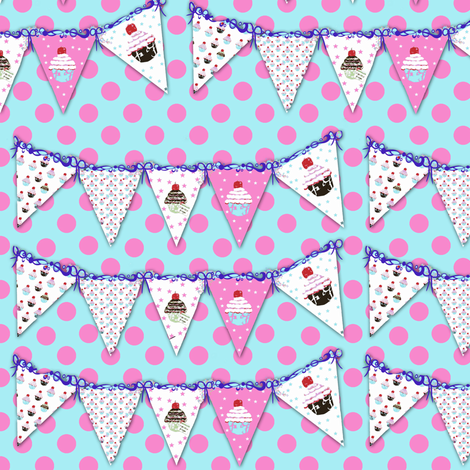 Polka Dots and Bunting fabric by karenharveycox on Spoonflower - custom fabric