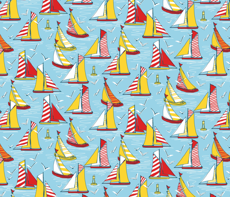 seagulls and sails fabric by scrummy on Spoonflower - custom fabric