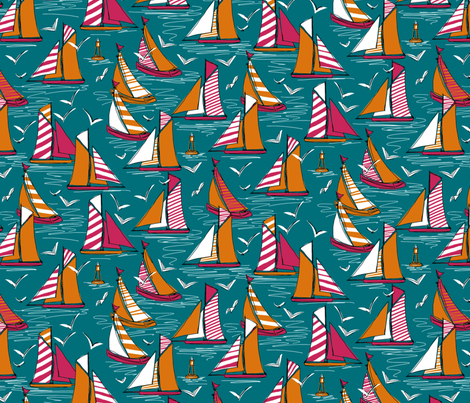 seagulls and sails bold fabric by scrummy on Spoonflower - custom fabric
