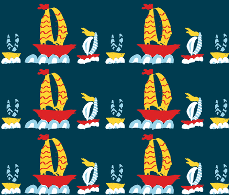 Three Boats in a Row Marine fabric by saartje on Spoonflower - custom fabric