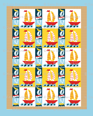 Three Boats Baby Quilt