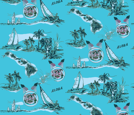 Sailing Hawaiian Style bluegreen  fabric by waiomaotiki on Spoonflower - custom fabric