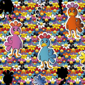 Kawaii Pop Art Chickens