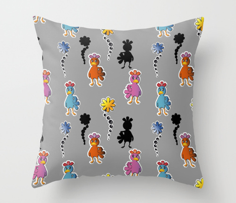 Kawaii Pop Chickens Grey