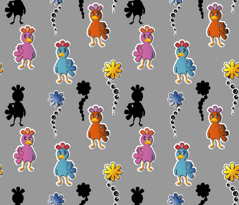 Kawaii Pop Chickens Grey fabric by vannina on Spoonflower - custom fabric