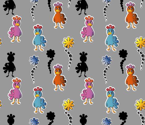 Kawaii Pop Chickens Grey fabric by vannina on Spoonflower - custom fabric