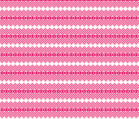 gingham ribbon  rick rack hot pink fabric by vos_designs on Spoonflower - custom fabric