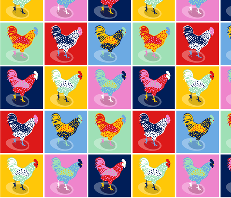 Pop Art Chickens fabric by jillbyers on Spoonflower - custom fabric