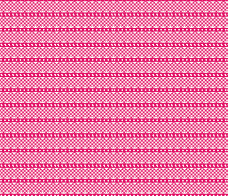 gingham ribbon  double rick rack hot pink fabric by vos_designs on Spoonflower - custom fabric