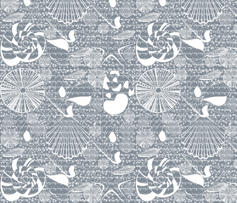 CoolGray_Shellswithwater_150 fabric by curlywillowco on Spoonflower - custom fabric