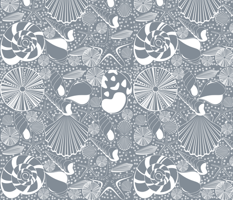 CoolGrey_Shells_nowater_150 fabric by curlywillowco on Spoonflower - custom fabric