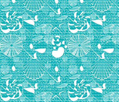 Turquoise Shells with water fabric by curlywillowco on Spoonflower - custom fabric