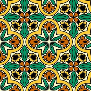 spanish tiles orange and yellow flowers