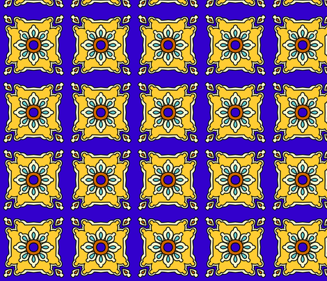 Mexican tiles blue and gold fabric by spacefem on Spoonflower - custom fabric