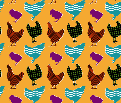 Film Chickens fabric by primenumbergirl on Spoonflower - custom fabric